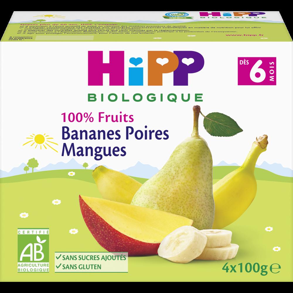 100% fruits bananes, poires, mangues BIO - dès 6 mois, Hipp (4 x 100 g)