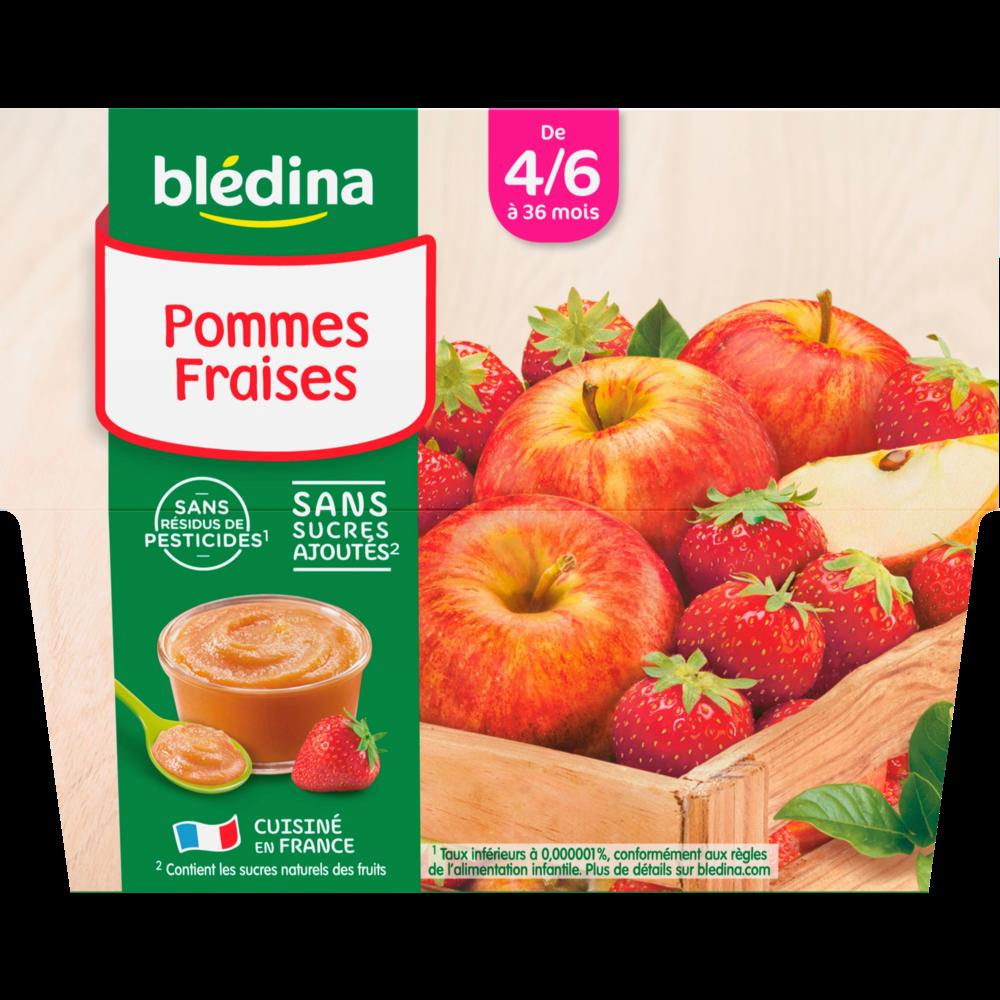 Coupelles 100% fruits pommes, fraises - dès 4/6 mois, Blédina (4 x 100 g)