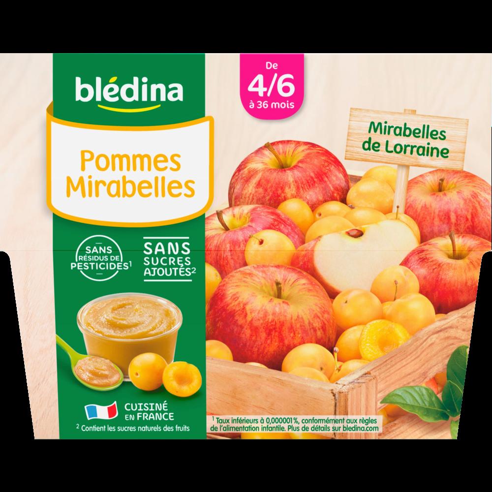 Coupelles 100% fruits pommes, mirabelles - dès 4/6 mois, Blédina (4 x 100 g)