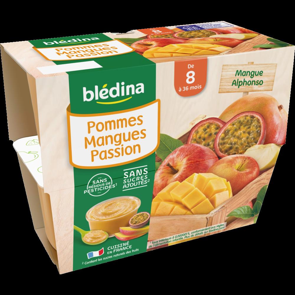 Coupelles 100% fruits pommes, mangues, passion - dès 8 mois, Blédina (4 x 100 g)