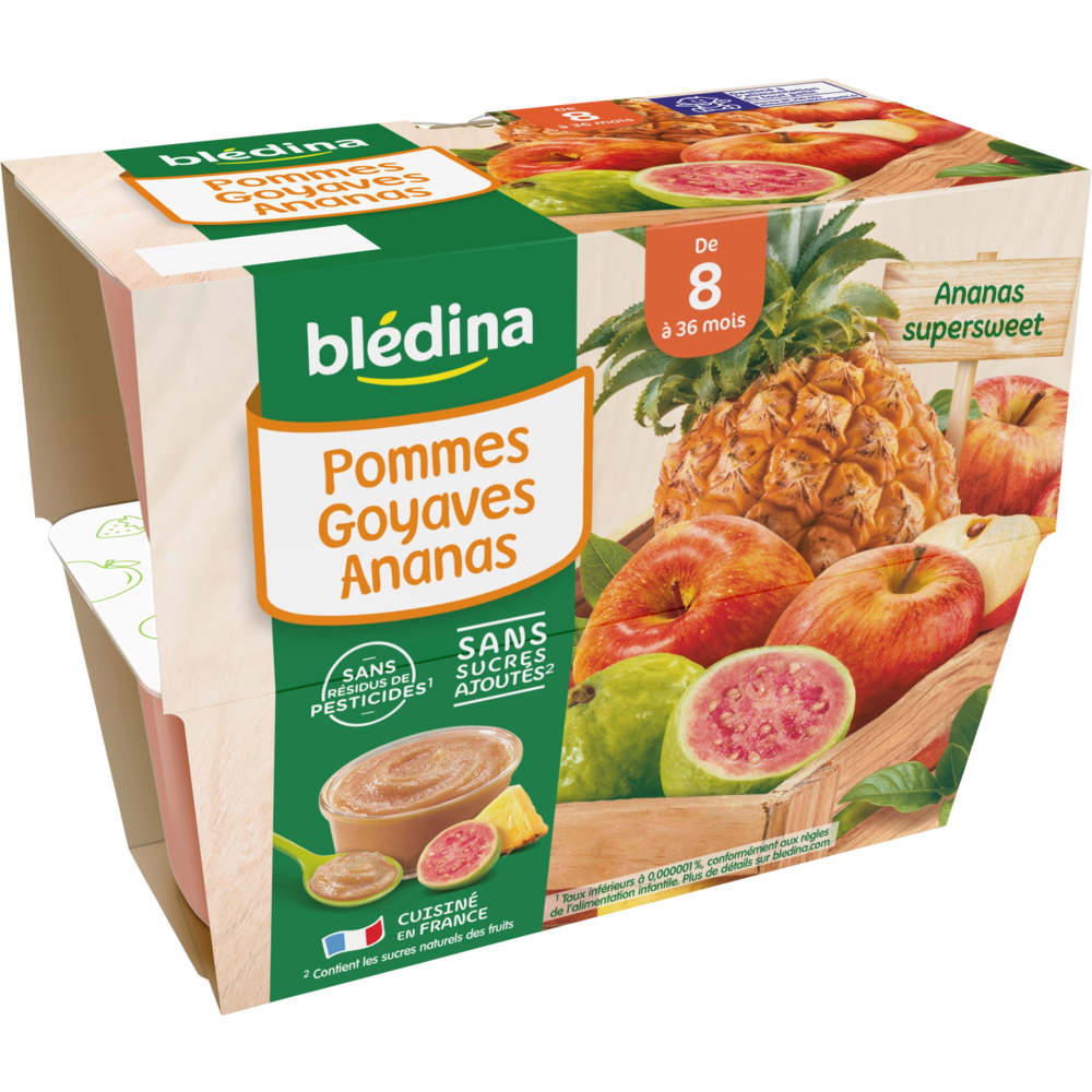 Coupelles 100% fruits pommes, goyaves, ananas - dès 8 mois, Blédina (4 x 100 g)
