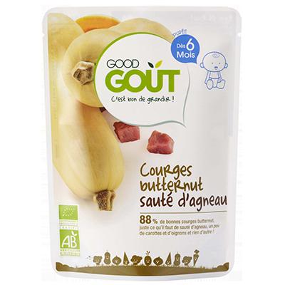 Courge butternut et sauté d'agneau BIO - dès 6 mois, Good goût (190 g)