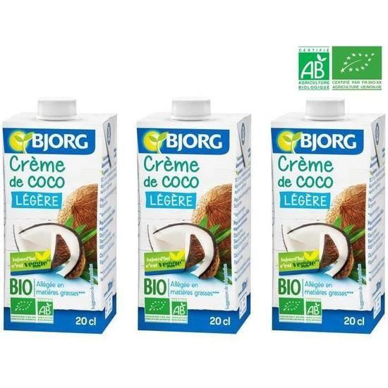 Crème de Coco légère BIO, Bjorg (3 x 200 ml)