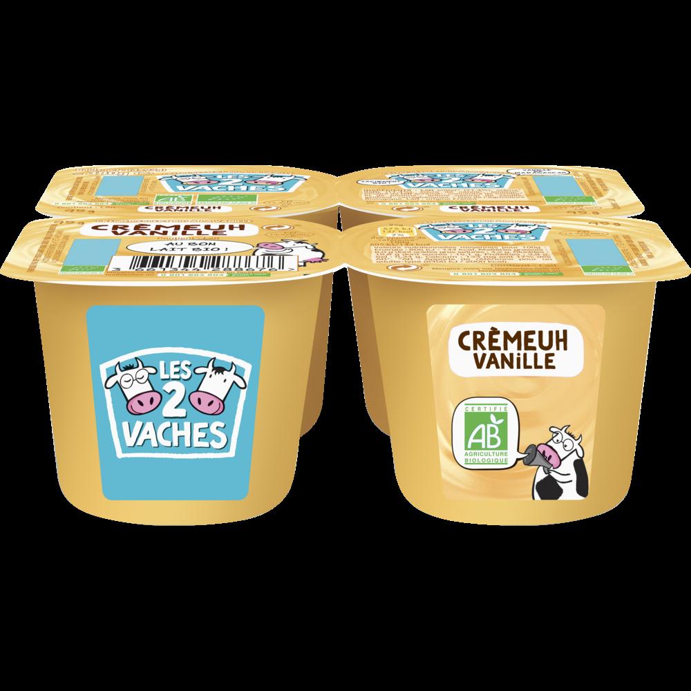 Crème dessert BIO à la vanille, Les 2 Vaches (4 x 95 g)