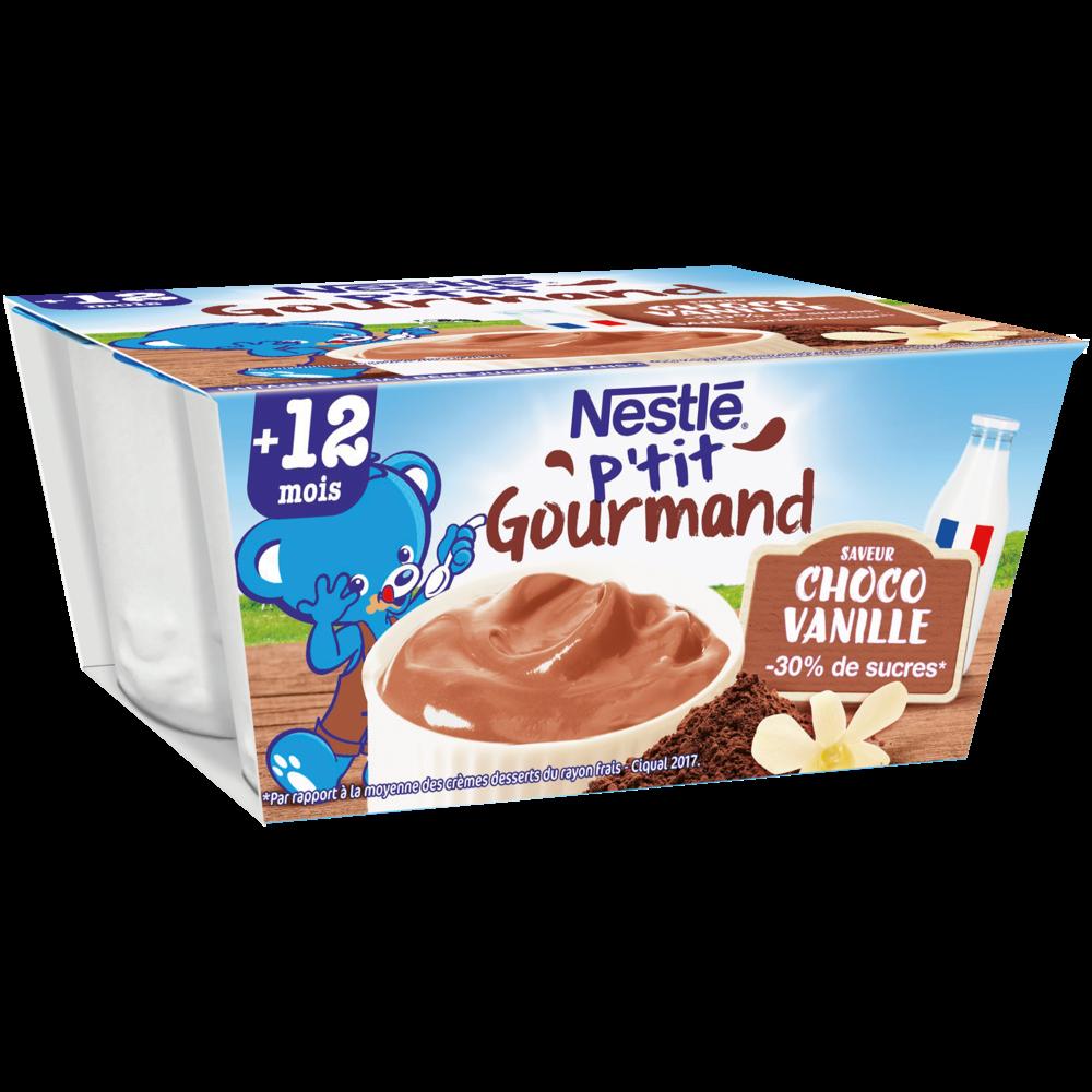 P'tit gourmand crème dessert chocolat/vanille - dès 12 mois, Nestlé (4 x 100 g)