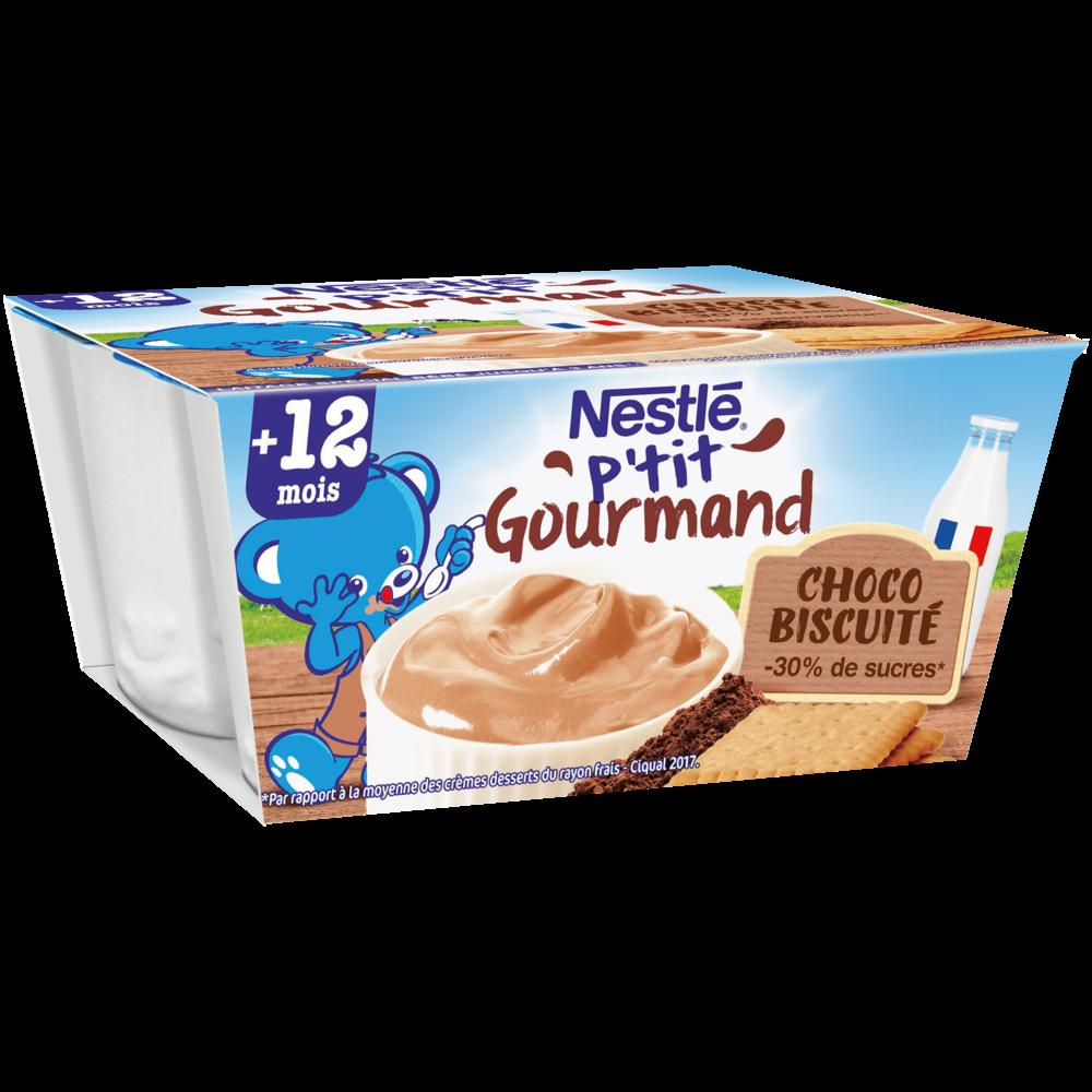 P'tit gourmand crème dessert chocolat biscuit - dès 12 mois, Nestlé (4 x 100g)