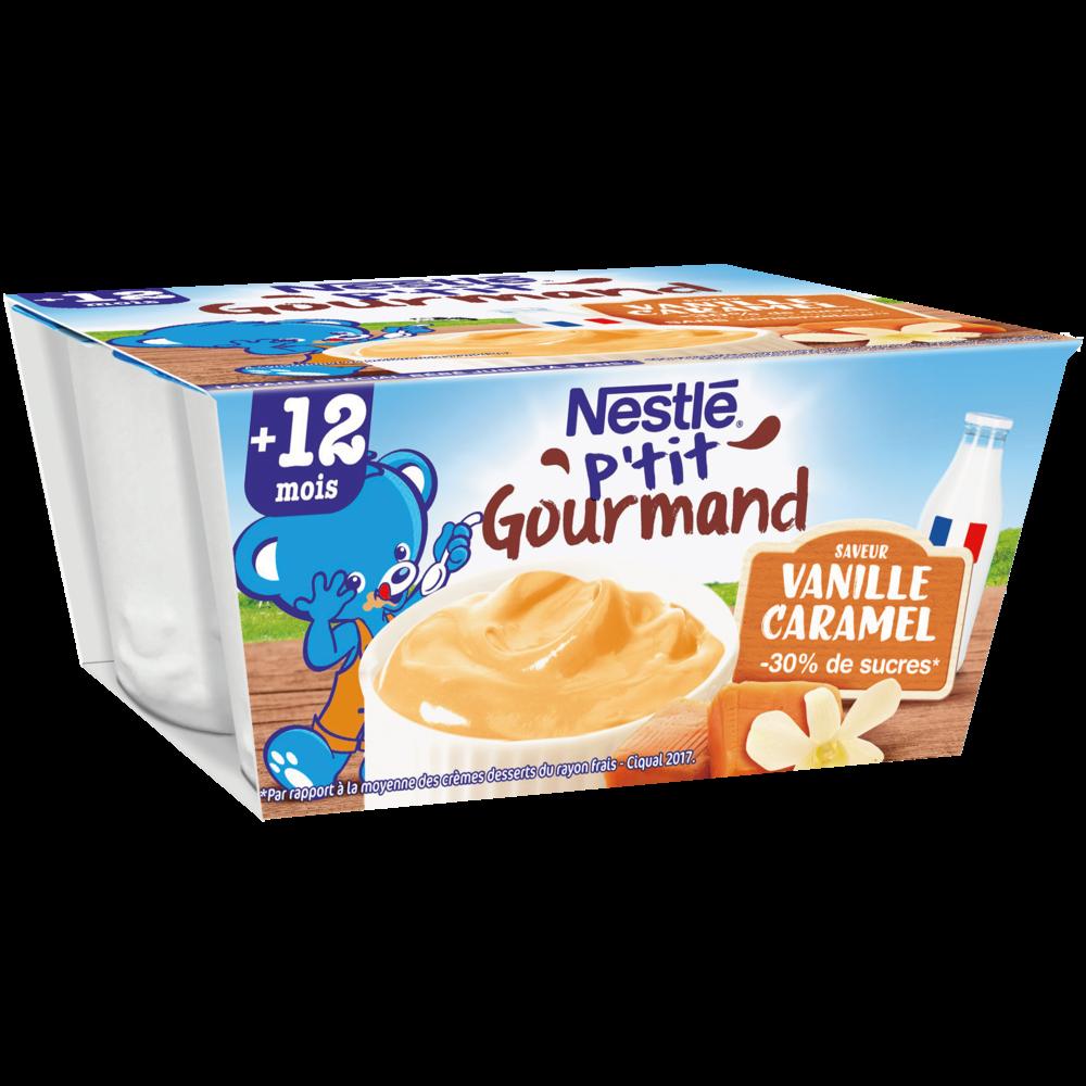 P'tit gourmand crème dessert vanille caramel - dès 12 mois, Nestlé (4 x 100 g)