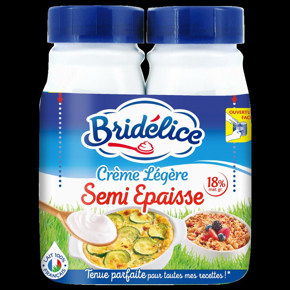 Crème légère semi épaisse 18% de MG UHT, Bridélice (2 x 25 cl)