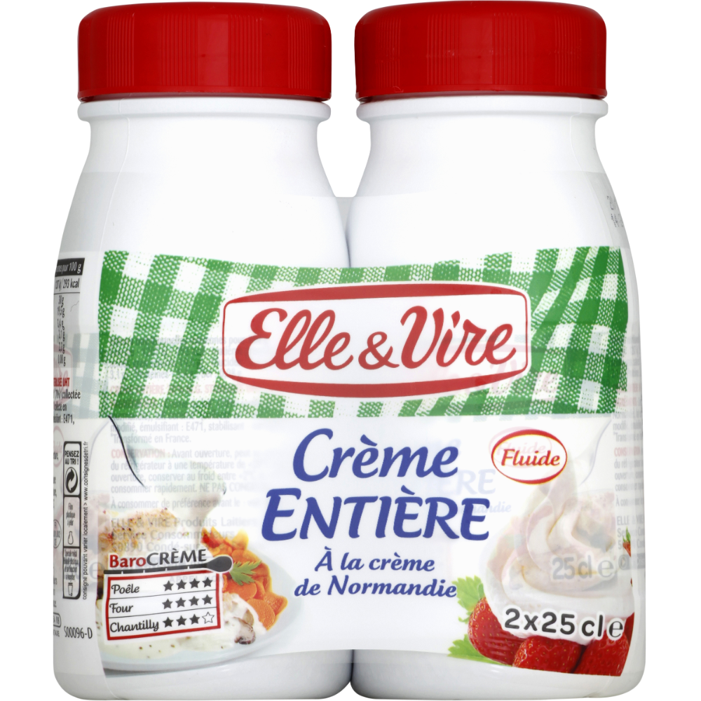 Crème UHT entière 30% MG, Elle & Vire (2 x 25 cl)