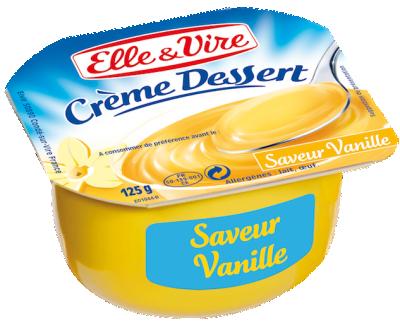 Crème dessert vanille UHT, Elle & Vire (4 x 125 g)