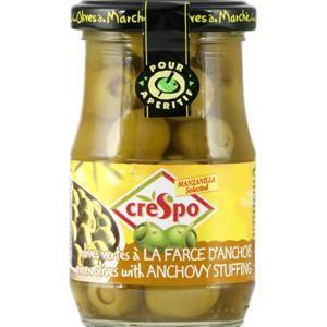 Olives vertes fourrées aux anchois, Crespo (120 g)