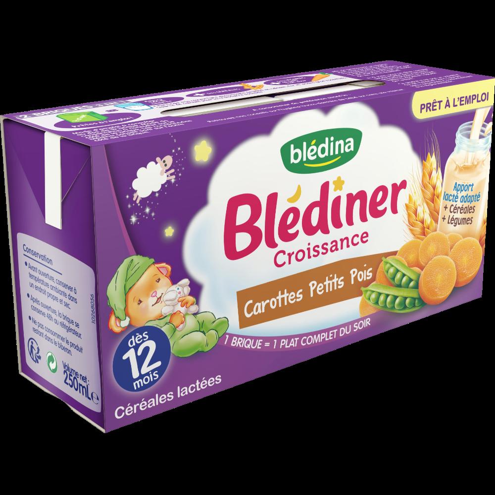 Blédiner croissance carottes, petits pois - dès 12 mois, Blédina (2 x 250 ml)
