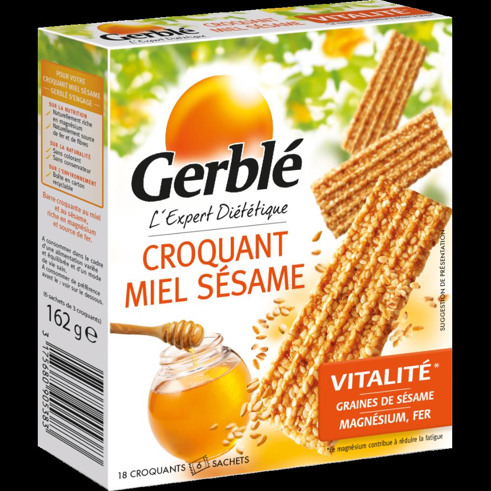 Croquants miel sésame, Gerblé (x 6 sachets de 3 barres, 162 g)