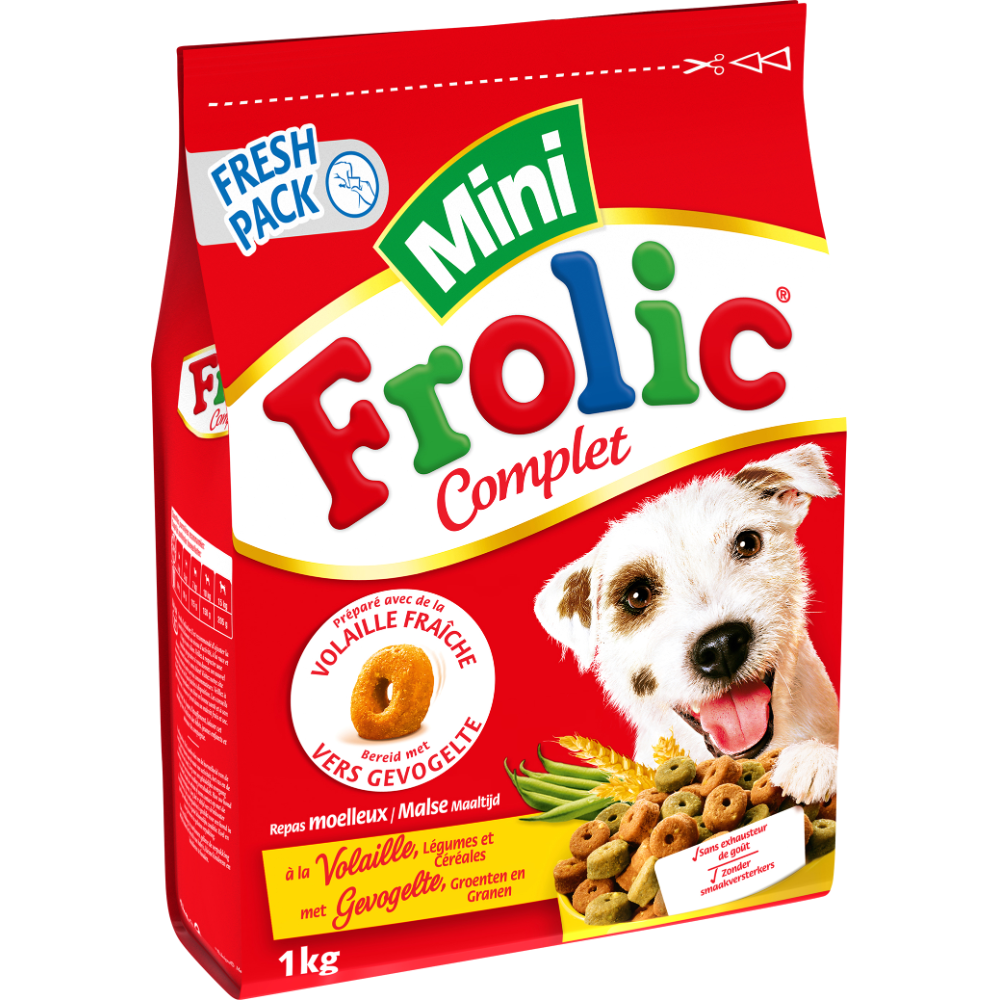 Croquettes pour chien à la volaille légumes et céréales mini, Frolic (1 kg)