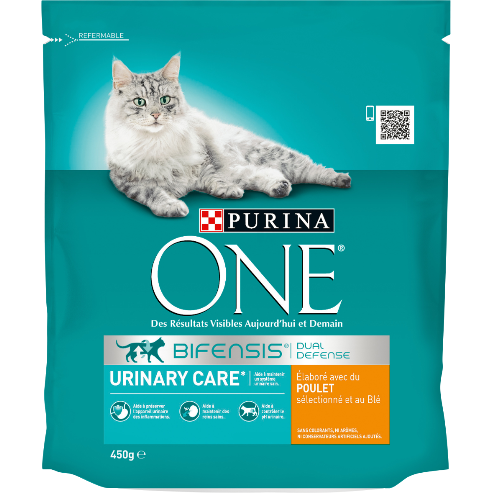 Croquettes pour chat adulte Urinary Care au poulet, Purina One (450 g)