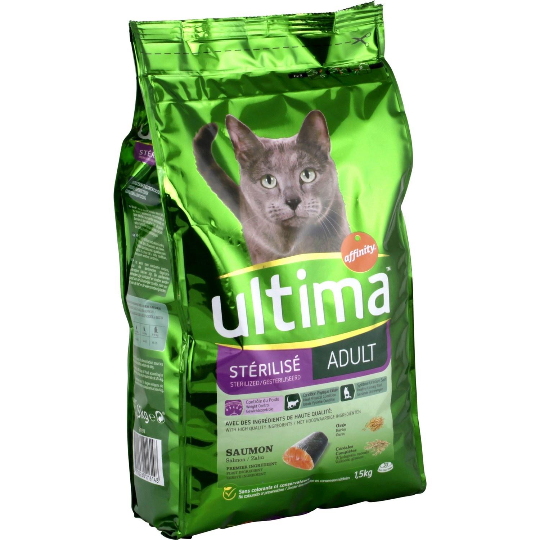 Croquettes à la truite pour chats stérilisés, Ultima (1,5 kg)