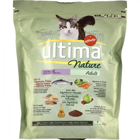 Croquettes pour chat stérilisé au saumon, Ultima Nature (400 g)