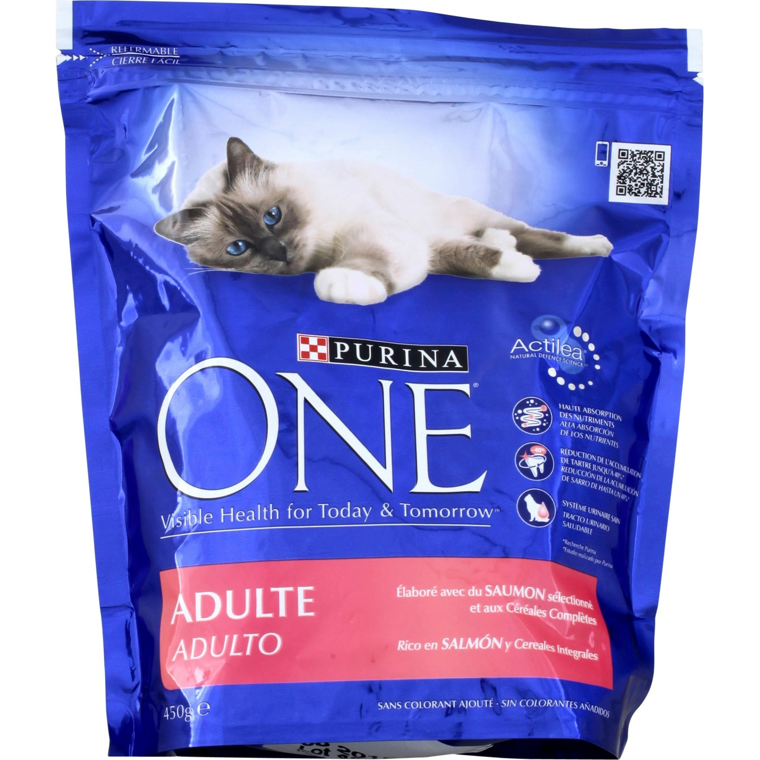 Croquettes pour chat au saumon, Purina One (450 g)
