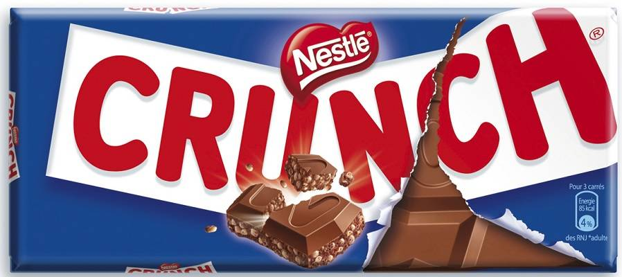 Chocolat au lait et riz soufflé Crunch, Nestlé (2 x 100 g)