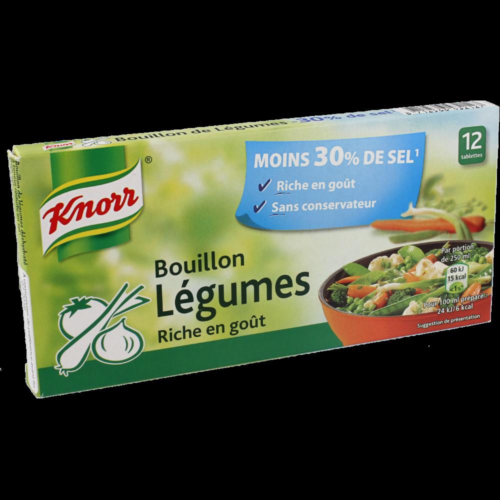 Bouillon de légumes réduit en sel, Knorr (12 tablettes, 109 g)