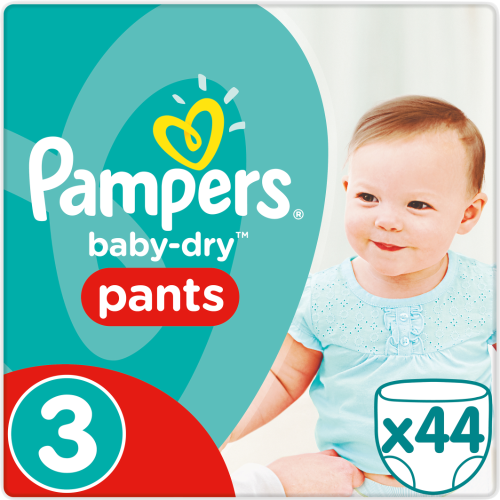 Couches/culotte baby dry pants T3 / 6-10 kg, Pampers (x 44)