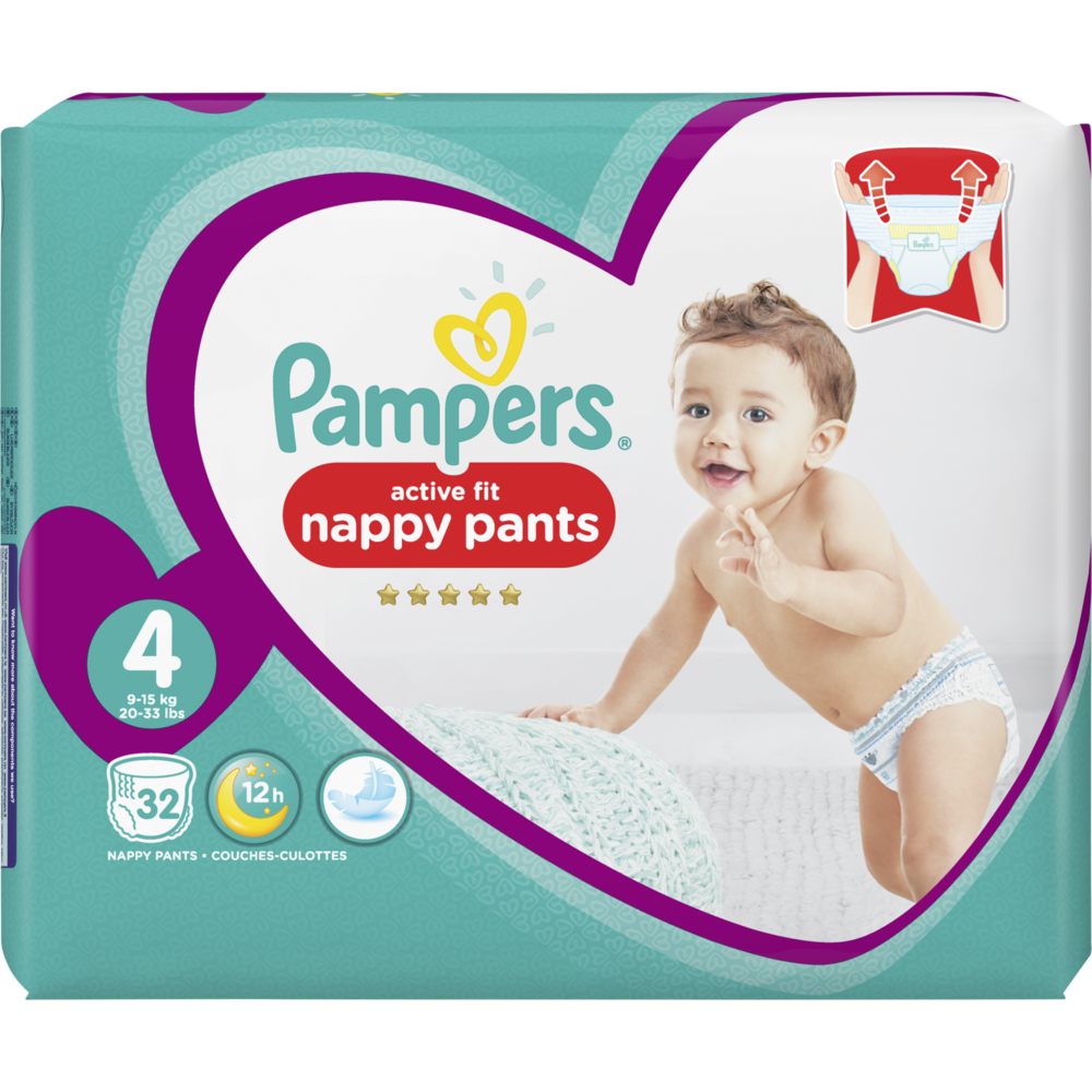 Couches/culottes premium protection active fit pants T4 / 9 -1 4 kg, Pampers (x 32)