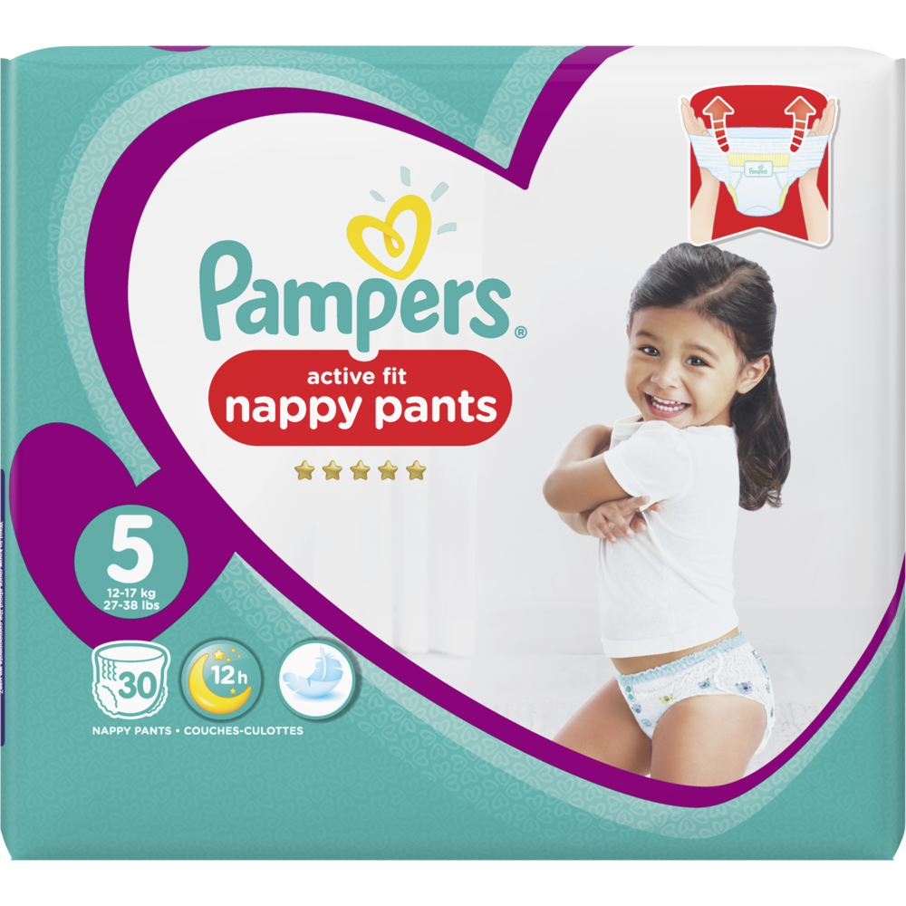 Couches/culottes premium protection active fit nappy pants T5 /11-16 kg, Pampers (x 30)