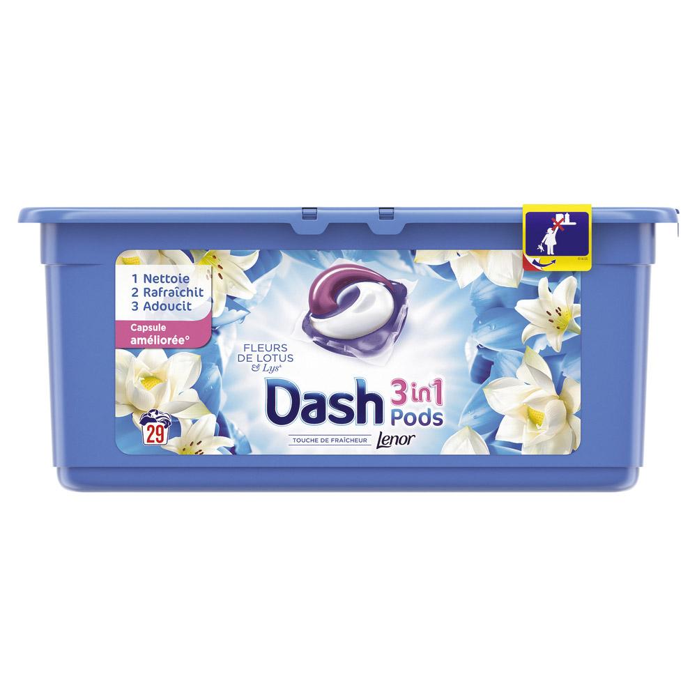 Lessive écodose 3 en 1 fleur de lotus & lys, Dash (x 18)