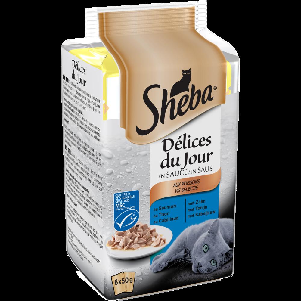 Délices du jour pour chat au poisson, Sheba (6 x 50 g)