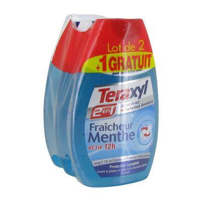 Dentifrice 2 en 1 menthe, Teraxyl  LOT DE 2 + 1 GRATUIT (3 x 75 ml)