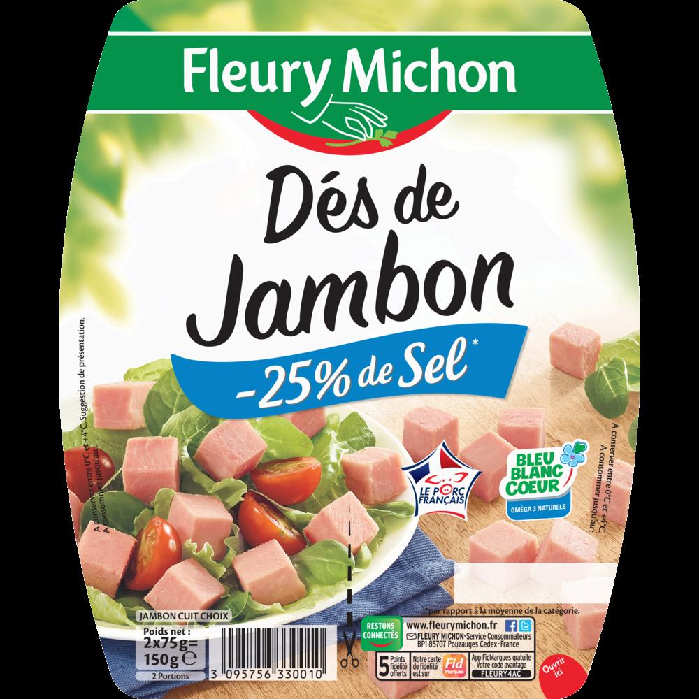 Dés de jambon -25% de sel, Fleury Michon (2 x 75 g)