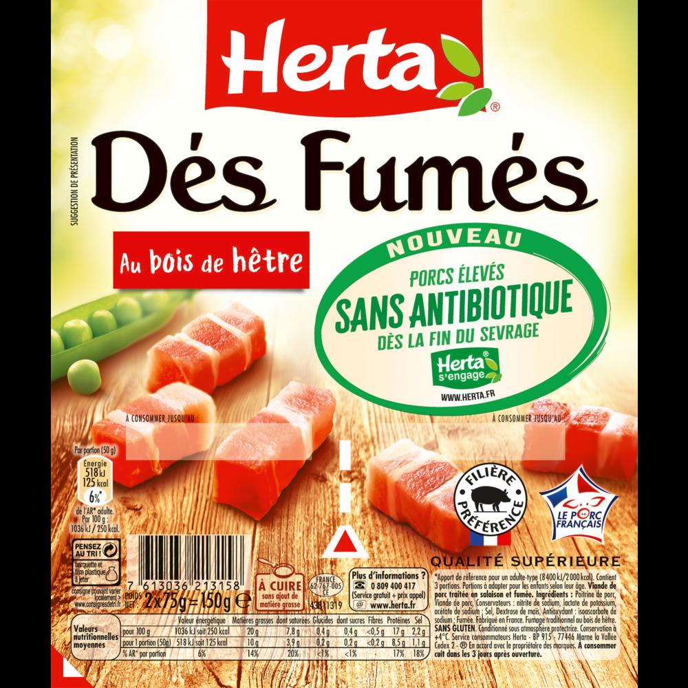 Dés fumés sans antibiotiques, Herta (2 x 75 g)