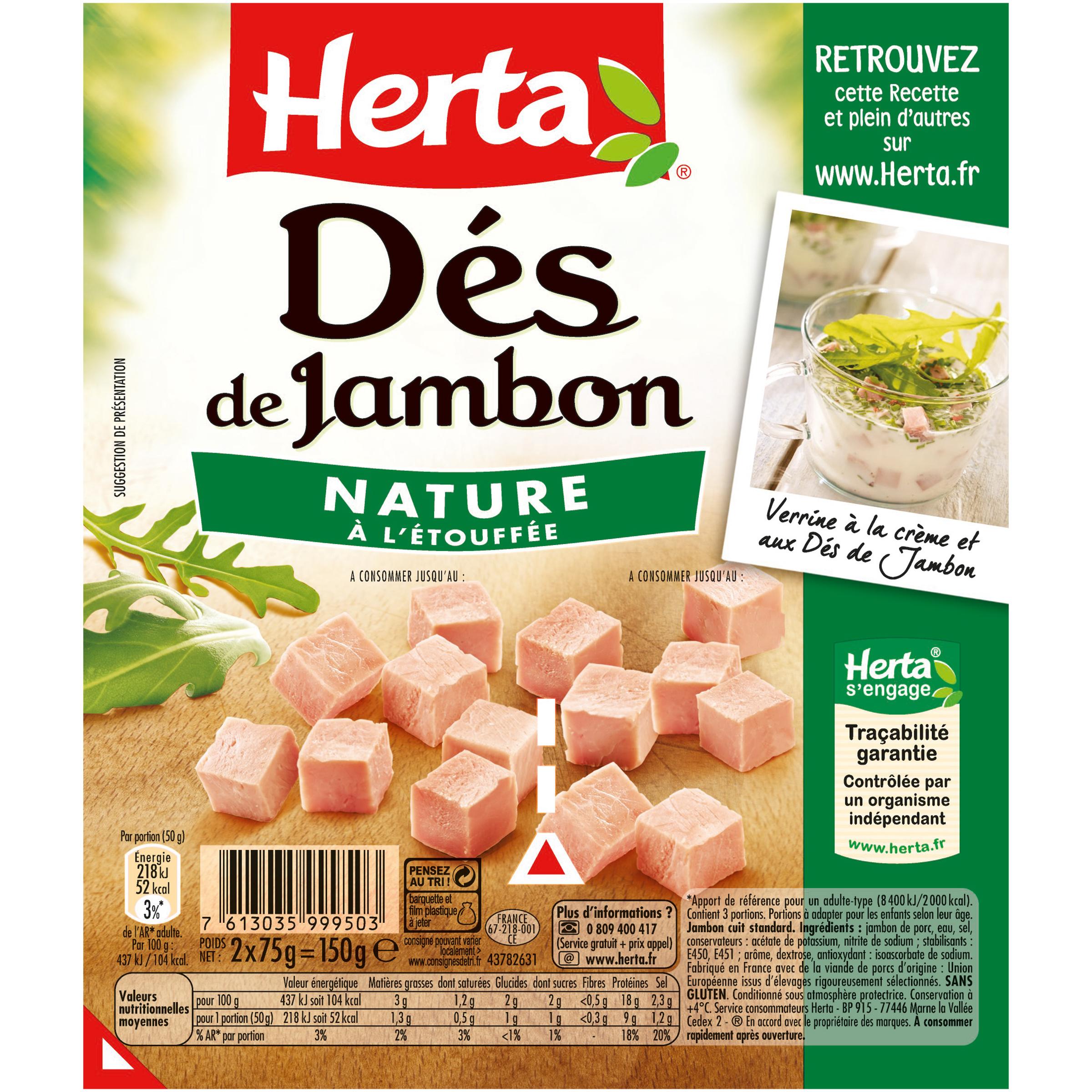 Dés de Jambon, Herta (2 x 75 g)