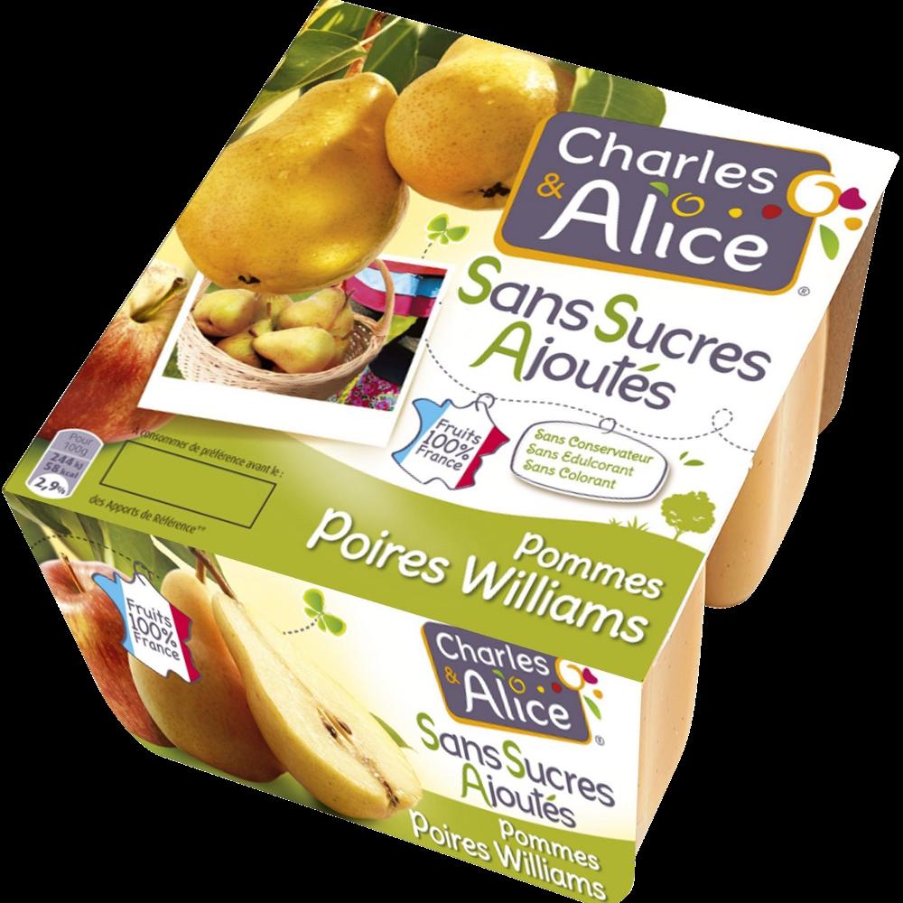 Compote pomme poire sans sucres ajoutés, Charles & Alice (4 x 100 g)