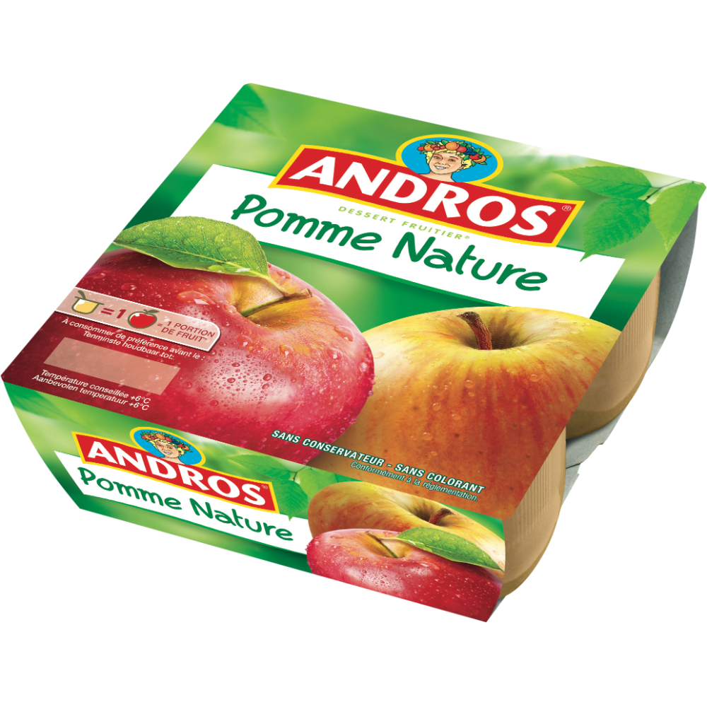Compote pomme nature, Andros (4 x 100 g)