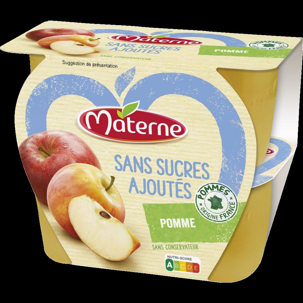 Compote pomme nature sans sucre ajouté, Materne (4 x 100 g)