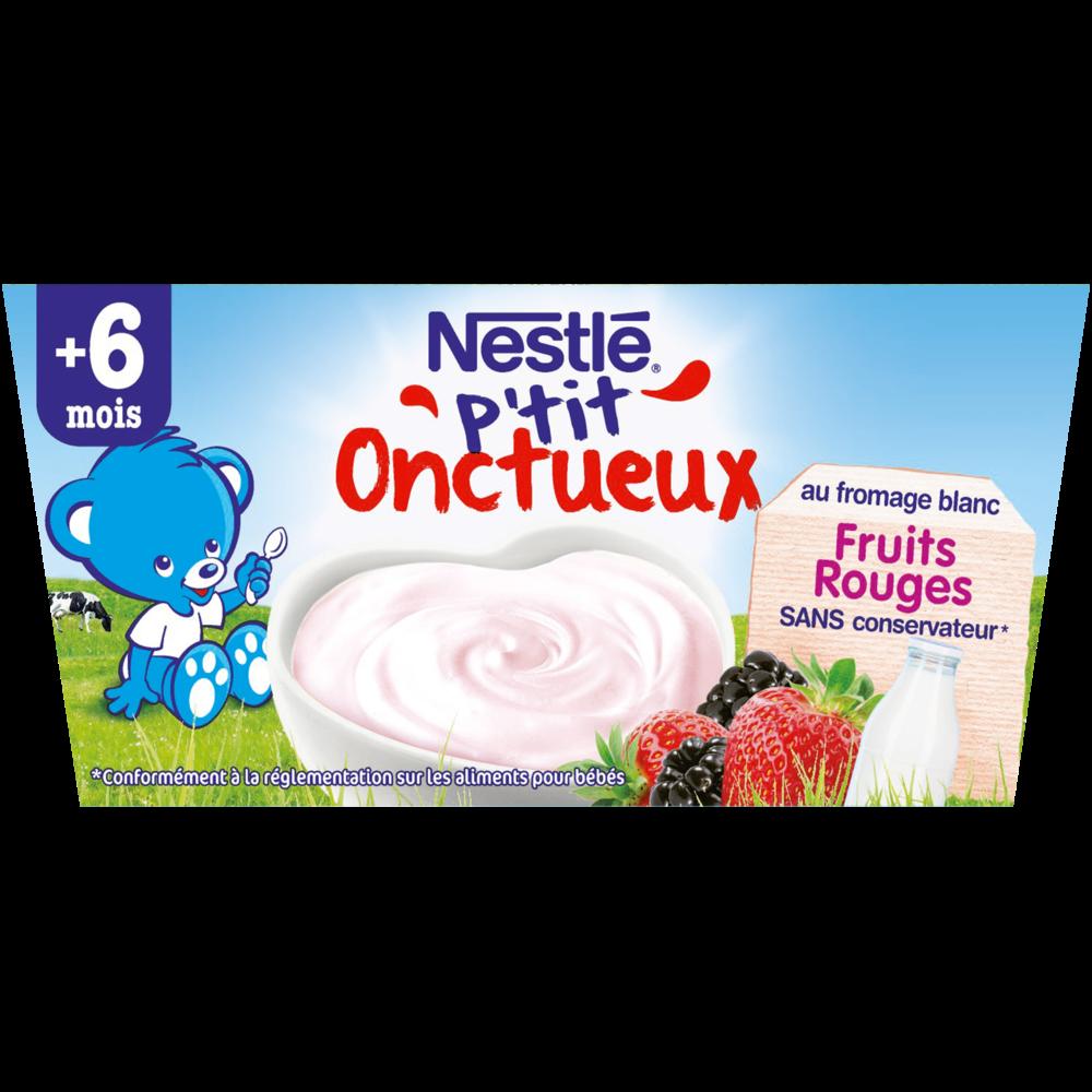 P'tit Onctueux au fromage blanc et fruits rouges - dès 6 mois, Nestlé (4 x 100 g)