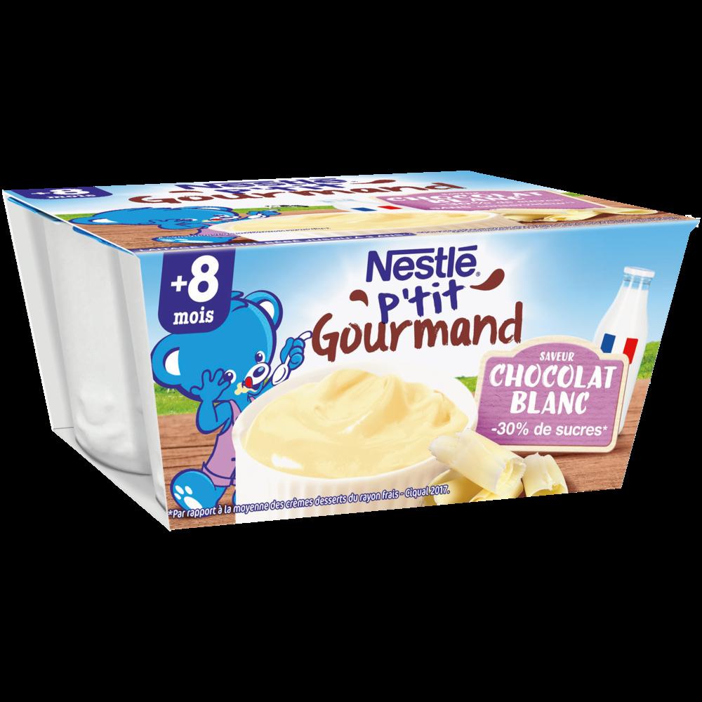 P'tit gourmand chocolat blanc - dès 8 mois, Nestlé (4 x 100 g)