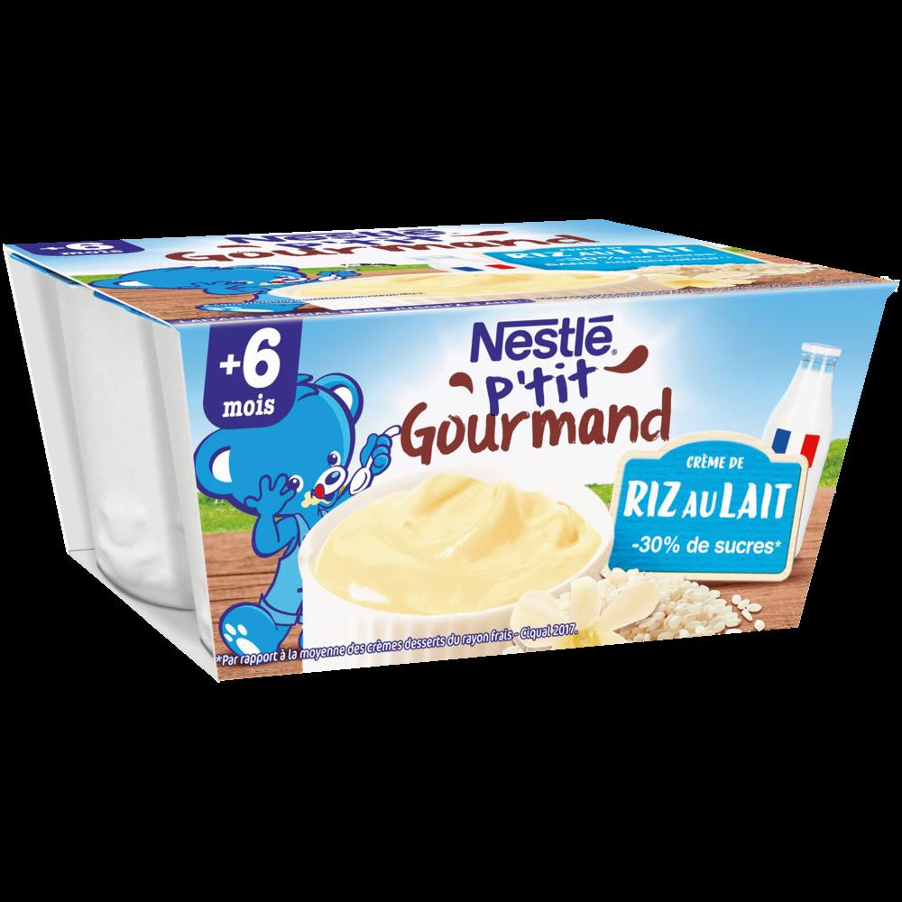P'tit gourmand crème de riz au lait - dès 6 mois, Nestlé (4 x 100 g)