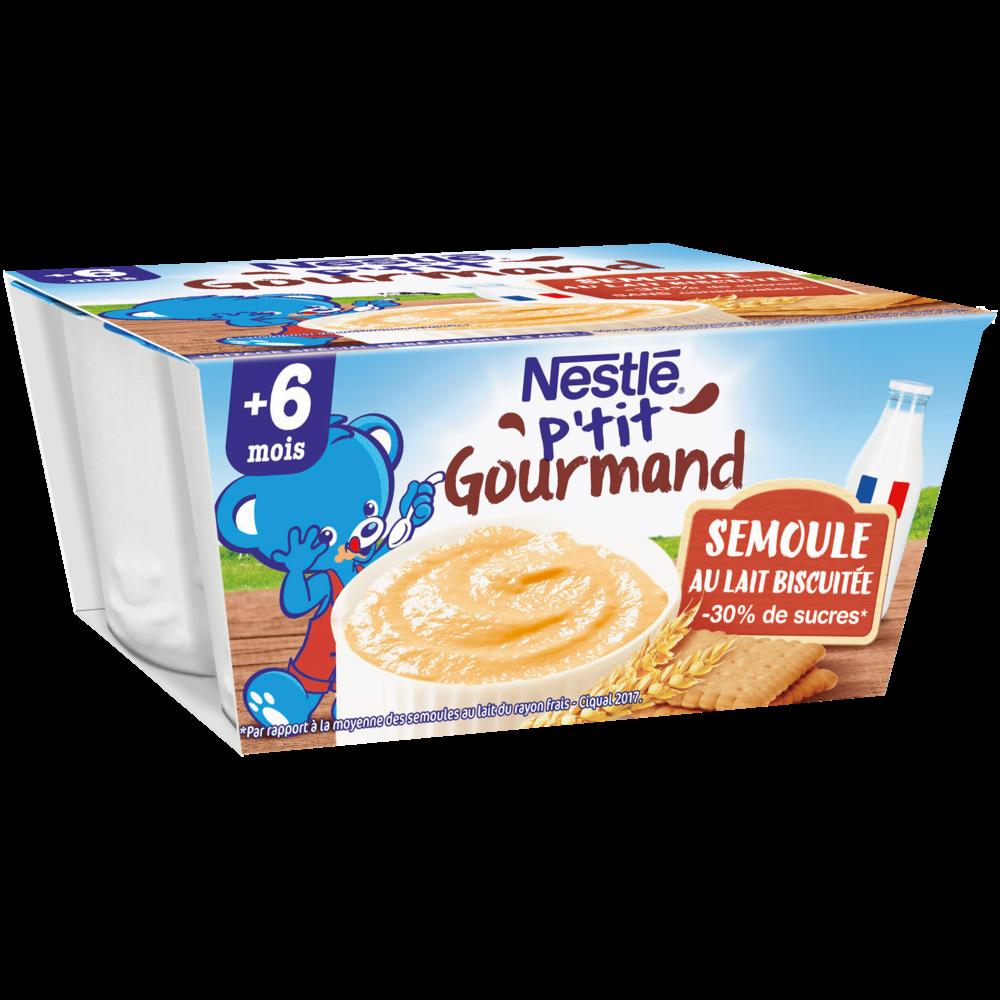 P'tit gourmand semoule au lait biscuitée, dès 6 mois, Nestlé (4 x 100 g)