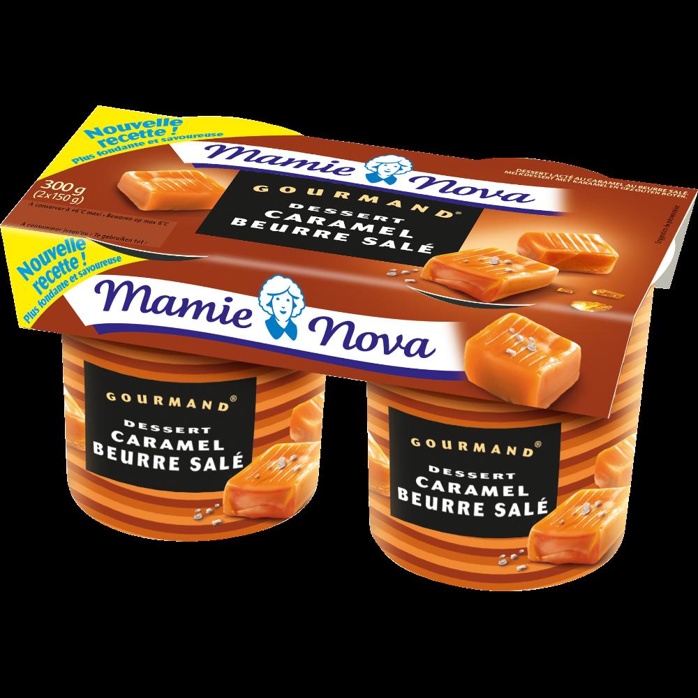 Dessert lacté au caramel au beurre salé, Mamie Nova (2 x 150 g)