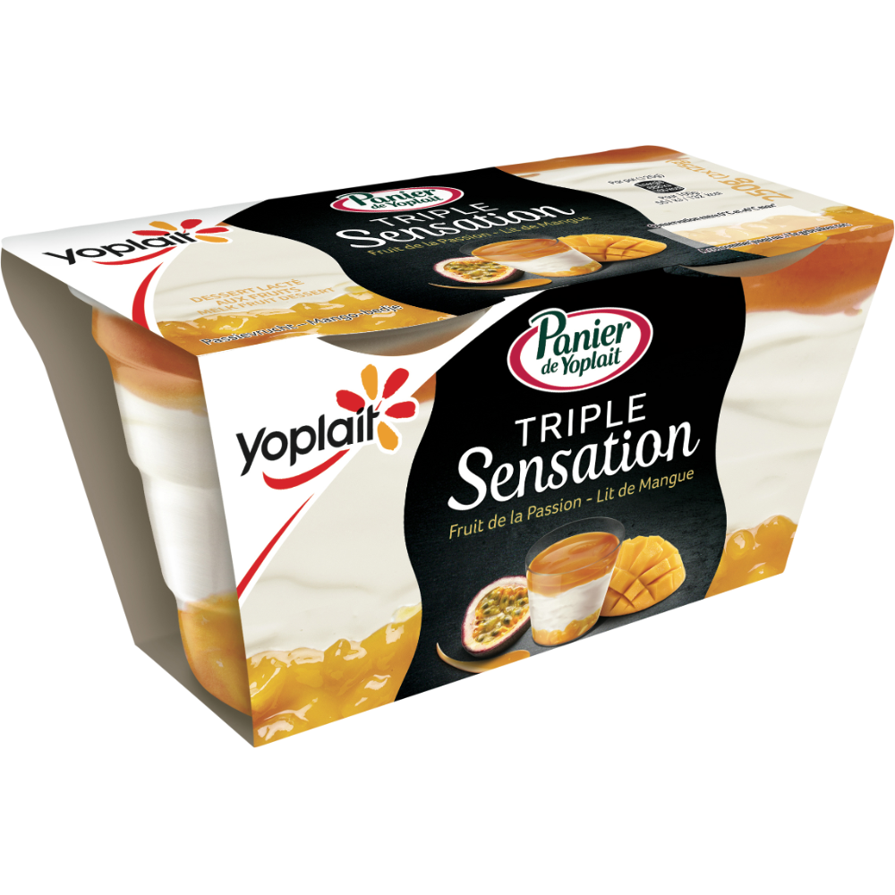 Dessert lacté triple sensation parfum passion mangues, Panier de Yoplait (2 x 125 g)
