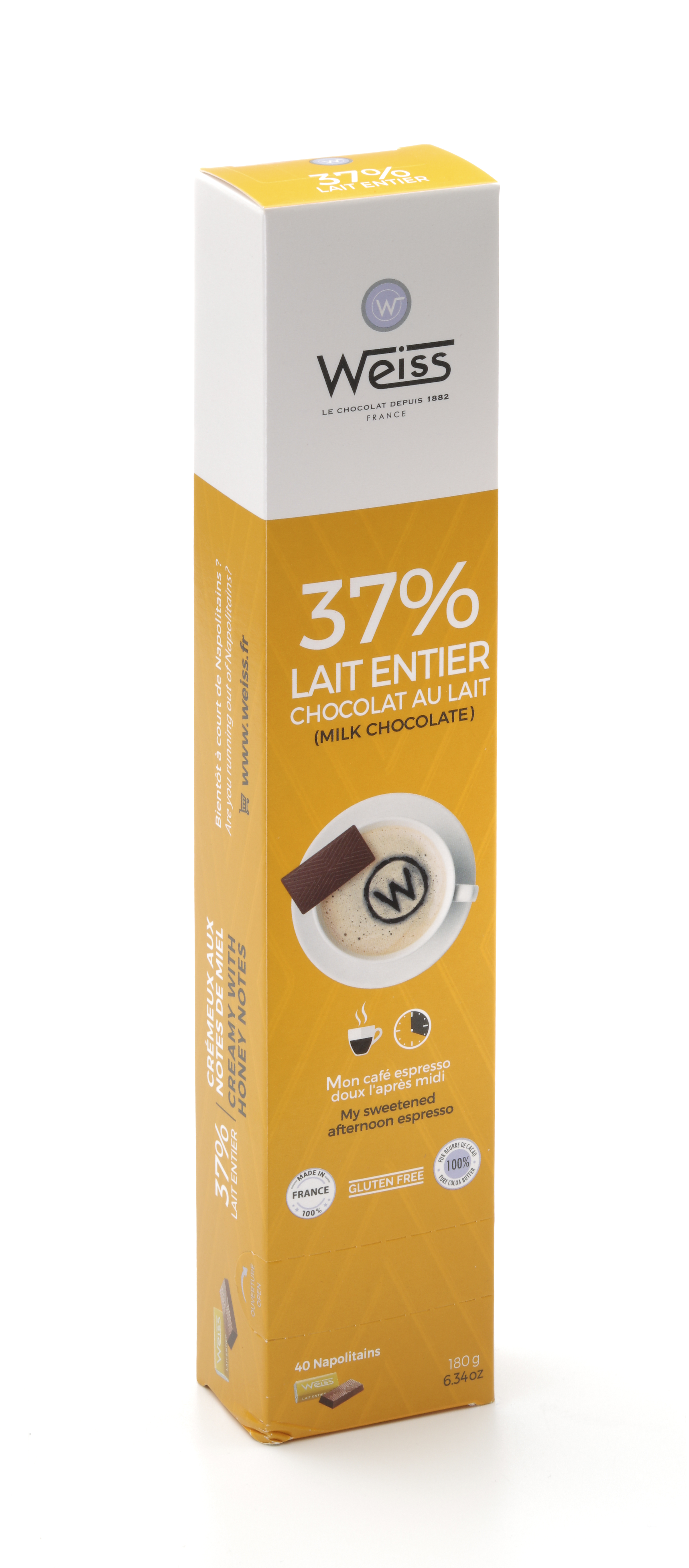 Napolitains lait entier 37%, Weiss (x 40, 180 g)