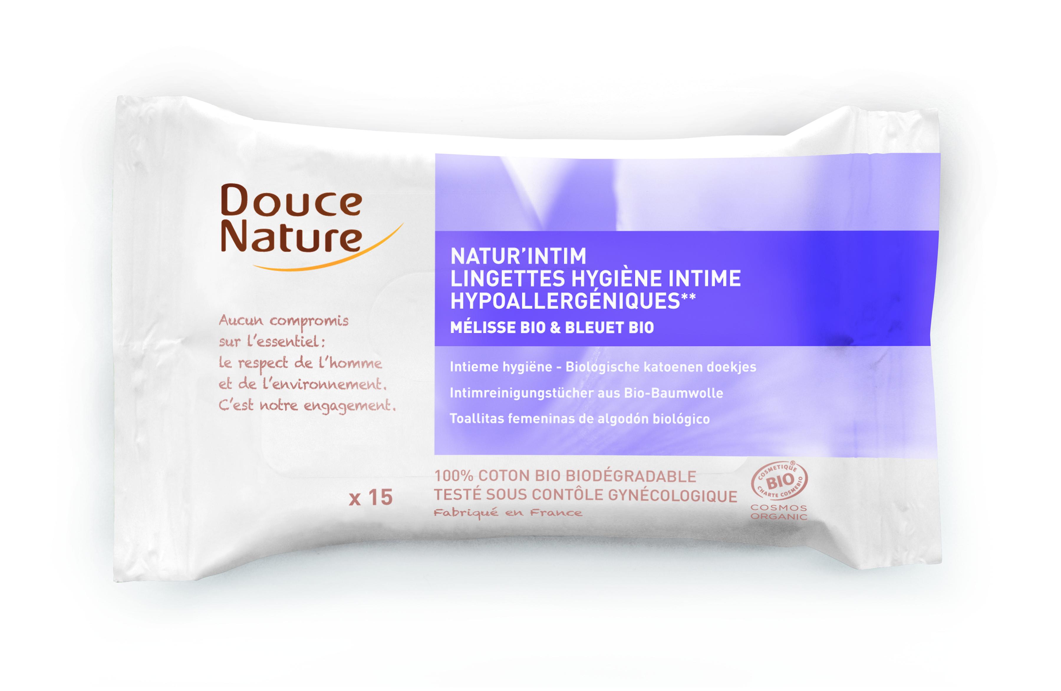 Lingettes de toilette intime hypoallergéniques Mélisse et bleuet, Douce Nature (x 15)