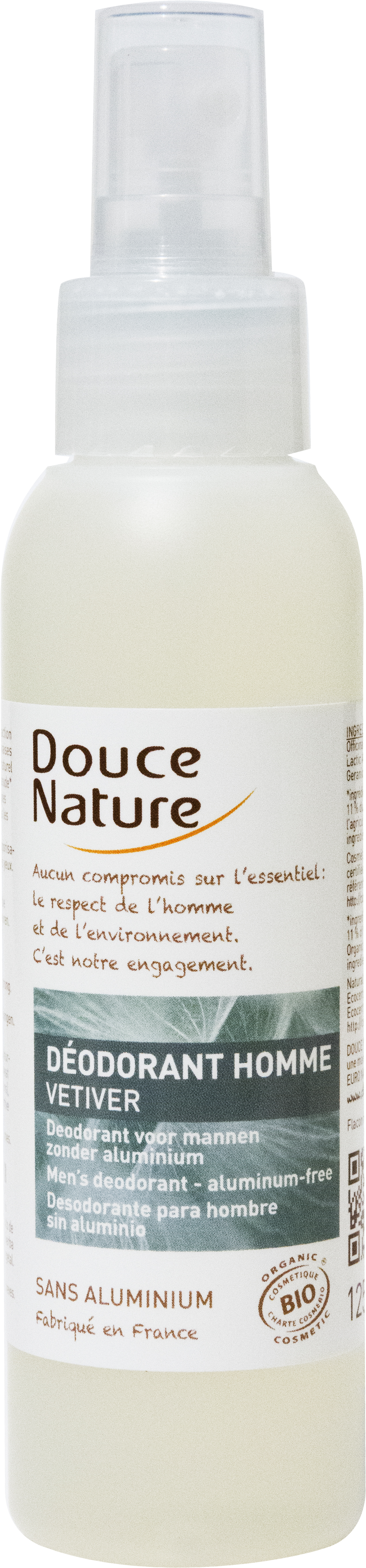 Déodorant spray pour homme Vétiver, Douce Nature (125 ml)