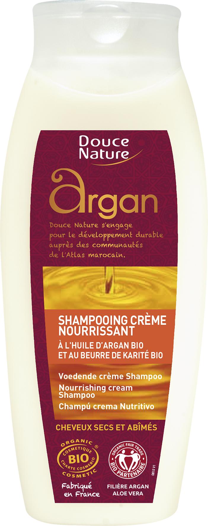 Shampooing crème nourrissant à l'huile d'argan et beurre de karité BIO, Douce Nature (250 ml)