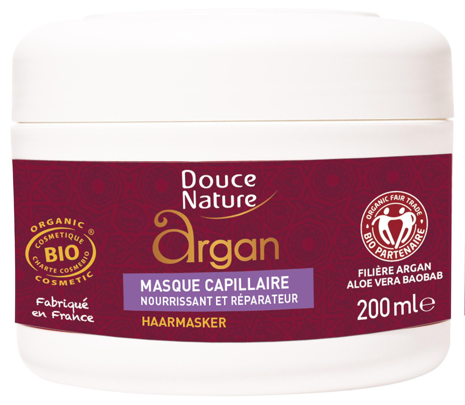 Masque capillaire nourrissant aux huiles d'argan et de baobab BIO, Douce Nature (200 ml)