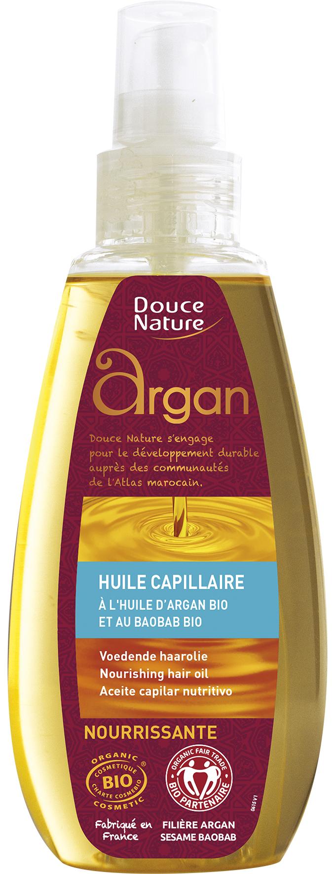 Huile capillaire nourrissante aux huiles d'argan et de baobab BIO, Douce Nature (160 ml)