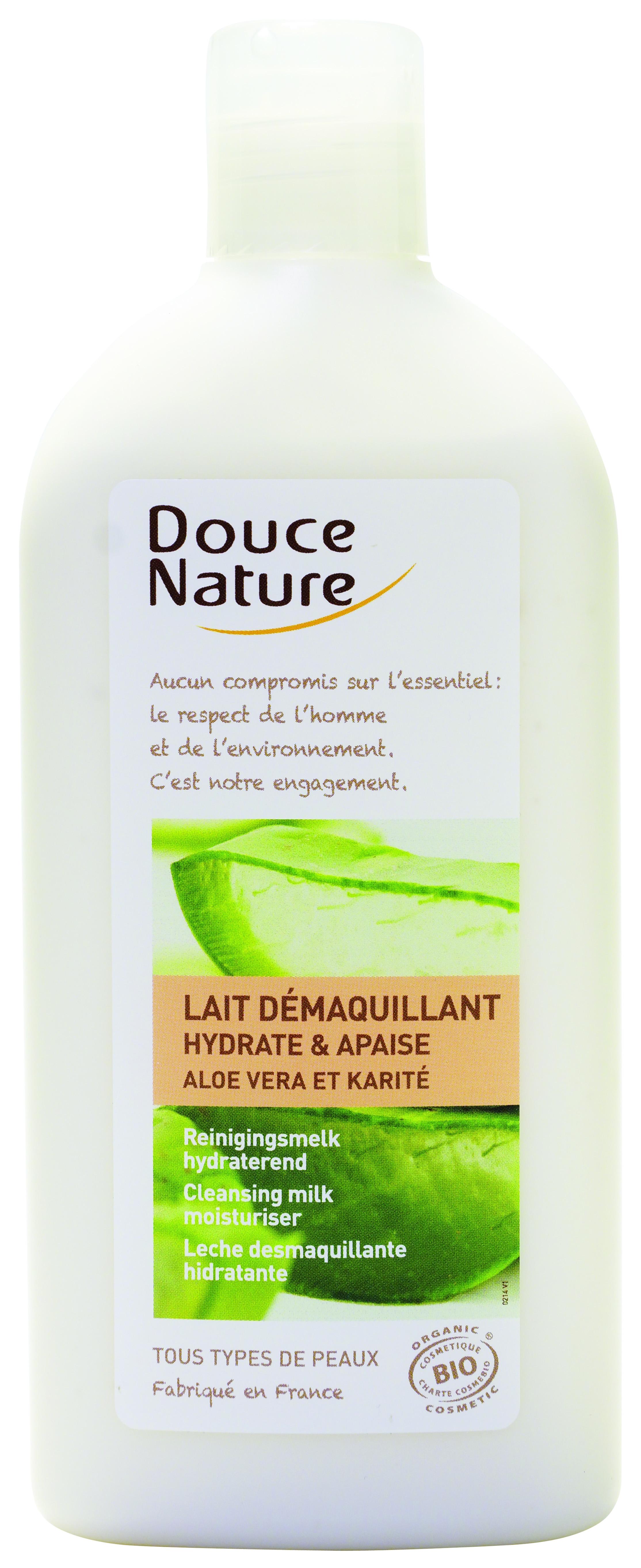 Lait démaquillant hydratant et apaisant Aloe vera et Karité, Douce Nature (300 ml)