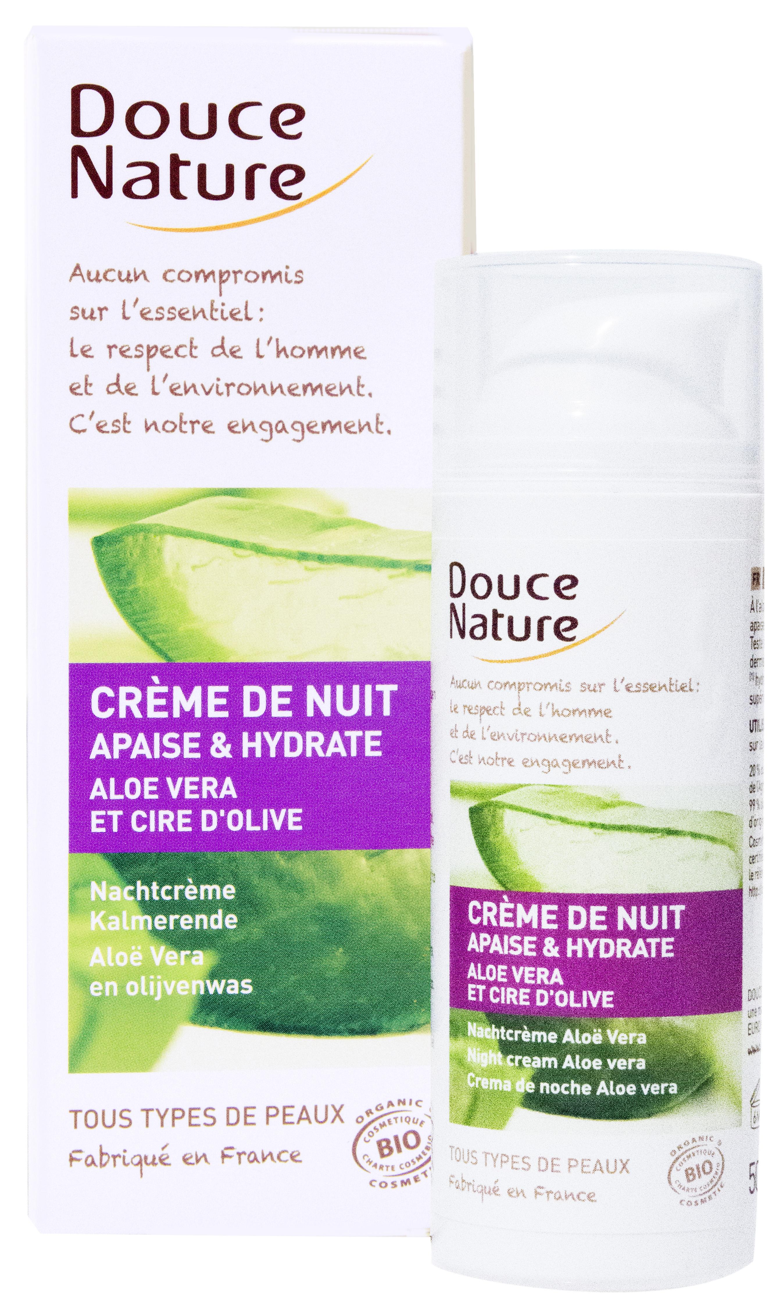 Crème de nuit Aloé Vera et cire d'olive, Douce Nature (50 ml)